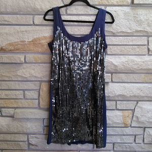 French Connection Navy Silver Sequin Shift Dress